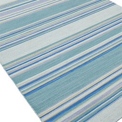 Jaipur Rugs - Flat-Weave Stripe Pattern Wool Blue/ Area Rug, Blue/, 5x8, Kiawah - Fashion-forward color and a soft texture highlight the relaxed sophistication of the Coastal Living� Dhurries Collection. Ideal for any casual lifestyle, the boldly striped, flat-woven pieces are easily cleaned - ideal for lounging after a day spent at the beach. Origin: India