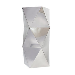 "Silver Nest - Chrome Polygon Planter- 36""h - Polished Stainless Steel Planter/ Pedestal 36""h"