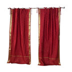 Indian Selections - Pair of Maroon Tie Top Sheer Sari Curtains, 43 X 108 In. - Size of each curtain: 43 Inches wide X 108 Inches drop