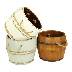 Antique Revival - Navarro Garden Bucket - This vintage,wooden kitchen bucket adds a fun,country touch to your existing decor. The lightly distressed,aqua paint brings in a splash of color,and the rope handle and iron banding add an old-fashioned vibe.