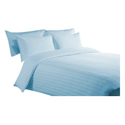 400 TC Duvet Cover with 1 Fitted Sheet Striped Sky Blue, Twin - You are buying 1 Duvet Cover (68 x 90 inches) and 1 Fitted Sheet (39 x 80 inches) only.