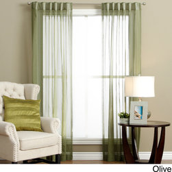 Ricardo - Lucerne Wanda Pleat Back Tab Curtain Panel Pair - The tailored panels are specially designed to open and close easily.  The thermal bonded header slides easily on a curtain rod up to 1.25 inches in diameter.  The easy care semi-sheer fabric filters light and creates a frosted layer of privacy.