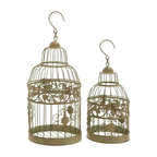 Benzara - Metal Birdcages in Dull Gold Antique Polish - Set of 2 - Bejewel your favorite room with elegance and sophistication with this stylish and gorgeous bird cage will. An attractive piece of decoration, this accessory will bring out the best in your interior setting. The beautiful bird cage is designed with very delicate craftsmanship and intricate detailing. It is adorned with lovely design of flowers and leaves that are carved from metal. The cage is easy to hang in any corner of your home and is stylized with a metal hook. To create a stunning show piece, you can place pot-pourri or colored ornaments in it to add color to your room. Its lovely dull gold antique polish will compliment the furniture and setting in each room. Buy this bird cage now and decorate your home with a stylish and long lasting accessory.