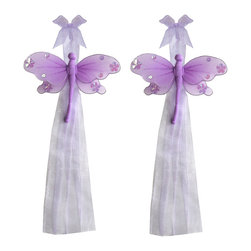 "Bugs-n-Blooms - Dragonfly Tie Backs Purple Jewel Nylon Dragonflies Tieback Pair Set Decorations - Window Curtains Holder Holders Tie Backs to Decorate for a Baby Nursery Bedroom, Girls Room Wall Decor - 5""W x 4""H Jewel Curtain Tieback Set Dragonfly 2pc Pair - Beautiful window curtains tie backs for kids room decor, baby decoration, childrens decorations. Ideal for Baby Nursery Kids Bedroom Girls Room.  This gorgeous dragonfly tieback set is embellished with sequins and glitter.  This pretty dragonfly decoration is made with a soft bendable wire frame & have color match trails of organza ribbons.  Has 2 thick color matched organza ribbons to wrap around the curtains.  Visit our store for more great items. Additional styles are available in various colors, please see store for details. Please visit our store on 'How To Hang' for tips and suggestions. Please note: Sizes are approximate and are handmade and variances may occur. Price is for one pair (2 piece)"