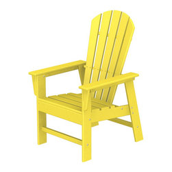 Polywood POLYWOOD® South Beach Chair in Lemon - The sun, the beach and a really good book Make the most of your outdoor living space with the bold styling of our eco-friendly South Beach Chair combining classic Art Deco with traditional Adirondack comfort and design. Create your own exotic get away with these classically styled pieces constructed from HDPE material– an incredibly durable material made from post-consumer bottle waste, such as milk and detergent bottles. Solidly constructed with stainless steel hardware, these pieces will stand the test of time and can withstand the elements with very little maintenance.  The South Beach Patio Chair will not absorb moisture and requires no waterproofing, painting or staining to maintain their bright color for years. The colors are blended into the material all the way through, and are UV-resistant. Minimal assembly is required.   Dimensions: 26.5W x 29D x 42.5H   Care: Wash with mild soap and water. They can be power washed at pressures below 1,500 PSI.   Please allow 2-3 weeks to ship.