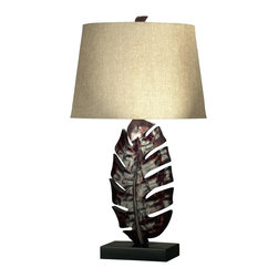 Kenroy - Kenroy 21050MB Frond Tropical Table Lamp - A richly tropical design, the large leaf that forms the base of this lamp is finished in a Mottled Bronze and topped with a Gold Linen shade.