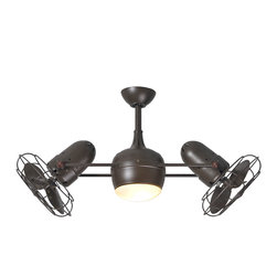 Matthews Fan Company - Dagny LK Ceiling Fan Light - The double-headed rotational ceiling fan, Dagny LK, with cylindrical central housing and straight, parallel arms, is designed in the etrospective aesthetic. The Dagny offers fluid lines and quiet axial rotation. The motor heads can be infinitely positioned in 180 degree arcs for optimum air movement, the greater the angles of the motors to the horizontal support rods (up or down), the faster the axial rotation. A slow, controlled axial rotation is achieved by both motor head position and fan blade speed. Matthews rotational fans circulate heat and air-conditioning more efficiently than traditional paddle fans. Available in either polished chrome, brushed nickel, or textured bronze finish options with the choice of a 5 inch, 10 inch, 20 inch, or 30 inch downrod. Two 50 watt, 120 volt B10 type candelabra base incandescent bulbs are required, but not included. 39 inch width.