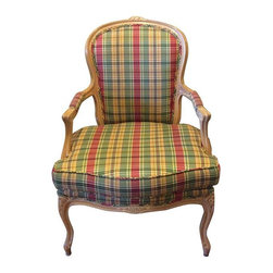 Used Whitewashed French Chair - Pretty in plaid, this upholstered whitewashed French chair is outfitted to add a punch of pattern to your decor. The chair is in excellent condition except for a small hole in the fabric on the bottom of the reversible seat cushion. The rest of the upholstery is perfect.
