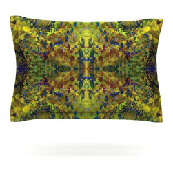 """Kess InHouse - Nikposium """"Yellow Jacket"""" Green Abstract Pillow Sham (Cotton, 40"""" x 20"""") - Pairing your already chic duvet cover with playful pillow shams is the perfect way to tie your bedroom together. There are endless possibilities to feed your artistic palette with these imaginative pillow shams. It will looks so elegant you won't want ruin the masterpiece you have created when you go to bed. Not only are these pillow shams nice to look at they are also made from a high quality cotton blend. They are so soft that they will elevate your sleep up to level that is beyond Cloud 9. We always print our goods with the highest quality printing process in order to maintain the integrity of the art that you are adeptly displaying. This means that you won't have to worry about your art fading or your sham loosing it's freshness."""