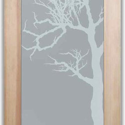 """Bathroom Doors - Interior Glass Doors Frosted - Winter Tree - CUSTOMIZE YOUR INTERIOR GLASS DOOR!  Interior glass doors or glass door inserts.  .Block the view, but brighten the look with a beautiful interior glass door featuring a custom frosted privacy glass design by Sans Soucie! Suitable for bathroom or bedroom doors, there are no clear areas on this glass.  All surface areas are etched/frosted to be 100% opaque.  Note that anything pressed up against the glass is visible, and shapes and shadows can be seen within approx. 5-12"""" of the glass.  Anything 5-12"""" from the glass surface will become obscured.  Beyond that distance, only lights and shadows will be discernible. Doors ship for just $99 to most states, $159 to some East coast regions, custom packed and fully insured with a 1-4 day transit time.  Available any size, as interior door glass insert only or pre-installed in an interior door frame, with 8 wood types available.  ETA will vary 3-8 weeks depending on glass & door type........  Select from dozens of sandblast etched obscure glass designs!  Sans Soucie creates their interior glass door designs thru sandblasting the glass in different ways which create not only different levels of privacy, but different levels in price.  Bathroom doors, laundry room doors and glass pantry doors with frosted glass designs by Sans Soucie become the conversation piece of any room.   Choose from the highest quality and largest selection of frosted decorative glass interior doors available anywhere!   The """"same design, done different"""" - with no limit to design, there's something for every decor, regardless of style.  Inside our fun, easy to use online Glass and Door Designer at sanssoucie.com, you'll get instant pricing on everything as YOU customize your door and the glass, just the way YOU want it, to compliment and coordinate with your decor.   When you're all finished designing, you can place your order right there online!  Glass and doors ship worldwide, custom packed """