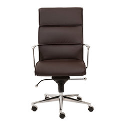 Euro Style - Leif High Back Office Chair - Brown Leatherette/Chrome - With brightly finished bases and armrests there is a distinctively professional look to these chairs. The one piece seat and the paneled seat back offer all day comfort which is great for that one day a week you can leave a little early for golf, or shopping or watching that soccer match at school. Goal!!!
