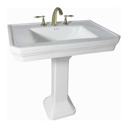 """Renovators Supply - Pedestal Sinks White Vitreous Pedestal Sink 8'' Widespread   17817 - Victoria Classic Pedestal Sink: Captures the lines and style reminiscent of early American bathroom fixtures! A roomy sink allows for toiletries, exquisite pedestal make this pedestal sink a winner! This sink has an overflow and accepts drains with overflows made to fit 1 3/4"""" drain holes. Takes an 8 inch widespread faucet not included. Measures 30 3/8 inch wide."""