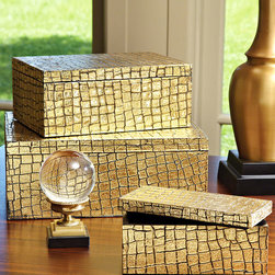 Gold Mock Croc Box - Exquisitely hand-tooled, this dazzling and labor-intensive craftsman coffer is detailed with a dramatic faux reptile pattern then drenched in the glitter of gold leaf.  The edgy, organic rhythm of blazing gold and deepening shadow in the Gold Mock Croc Box makes this a focal metallic accent for adding strongly-stated glamor to any room in your home.