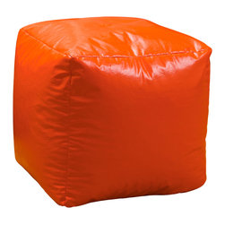 Best Selling Home Decor - Orange Parker Vinyl Bean Bag Cube Ottoman - Comfortable and durable, this bean bag ottoman has a vinyl cover and is filled with long-lasting polystyrene beans. They are perfect for a bedroom, home theater rooms, family and game rooms. Color: Various; Materials: Vinyl, polystyrene beans; Weight: 3 pounds; Diameter: 16 inches; Fill: Polystyrene beans; Cover: Cover is double-stitched along all seams and is not removable; also includes hidden stitching and seams; Puncture proof; Care Instructions: Spot Clean; Dimensions: 18 inches high x 18 inches wide x 18 inches deep; Made in the US; Kid friendly