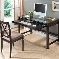 Baxton Studio - Idabel Dark Brown Wood Modern Desk with Glass Top - With a dark brown finish,this contemporary desk from Idabel features an MDF frame and glass top. Built-in shelves finish this desk.