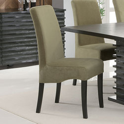 "Coaster - Stanton Collection Green Chair, Set of 2 - The Stanton collection will give your contemporary casual dining and entertainment room a bold update. With this unique wave design and different chair options, you can mix and match to create the perfect look for your home. Made from Ash veneers and finished in a rich black.; Contemporary Style; Stanton Collection; Fabric Color: Green; No assembly required.; Dimensions: 25.25""L x 17.5""W x 40""H"