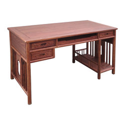 Chinese Yellow Rosewood Modern Writing Desk - This is a modern style writing desk with three closed drawers and one center open tray drawer. It has an elegant and oriental simple design. The natural yellowish brown color and wood grain of the wood also creates an uniquness of the table.