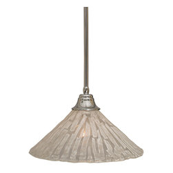 """Toltec - Toltec 26-CH-719 Stem Pendant Shown in Chrome Finish with 16"""" Italian Ice Glass - Toltec 26-CH-719 Stem Pendant Shown in Chrome Finish with 16"""" Italian Ice Glass Shade"""