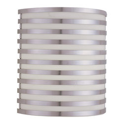 AFX Lighting - AFX Lighting BBS213SAMV Bilbao Satin Aluminum Wall Sconce - This totally cool wall sconce runs circles around the others. Its geometrically pleasing design consists of a frosted-white glass diffuser that's held by rows of rings. Place a few in your entryway, stairwell or hallway and let them light the way.