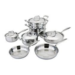 Engel-Riviere - All-Ply™ 11-Piece Cookware Set - Isn't it time to step up your game in the kitchen? This 11-piece cookware set is the ultimate upgrade. Its strategic combo of copper, aluminum and stainless steel offers optimal heat distribution and temperature control to turn you into a stove top master.