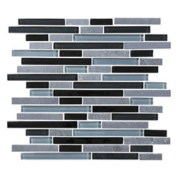 Bliss Black Timber Stone and Glass Linear Mosaic Tiles, 10 Square Feet - A nice neutral mix of black and two shades of grey come together in this delightful blend of random glass and stone strips. Black Timber is also available in a 5/8 x 5/8 mosaic tile.