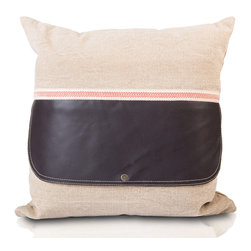 My Two Designers - Gvala Pillow - The rather gentlemanly leather pillow gained inspiration from a fine western saddlebag.  Presented in a relaxed-yet-refined way, the Gvala offers a hint of earth-like textures.  Hand-crafted in India.  Fabric is a cotton-linen blend.