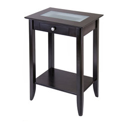 Winsome - Syrah Phone Stand with Frosted Glass - Accent Table is the perfect fit for any home. Featuring a rich espresso finish, two frosted glass tiles inlaid in the table top and a convenient storage shelf. Made of Solid and composite wood. Assembly Required