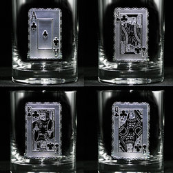"Crystal Imagery, Inc. - Poker Playing Cards Rocks Glasses, Whiskey, Scotch, Bourbon Set of 4 - Engraved playing cards whiskey glass set is great for poker lovers and a unique gift for the gambler. Features the Ace, King, Queen, Jack playing cards deeply etched into the glass. Is a unique man cave or home bar addition as well as the perfect gift for the man who has everything. Deeply carved using our sand carving technique, each whiskey, scotch, bourbon glass is meticulously custom made to order making it the perfect gift for those seeking unique gift ideas for whiskey lovers - men and women alike. At 4.25"" high x 3.4"" wide, our whiskey glasses and scotch glasses hold 13.5 oz. A set of these etched whiskey glasses will be the favorite gift at any special gift giving occasion. Dishwasher safe. SOLD AS SET OF 4."