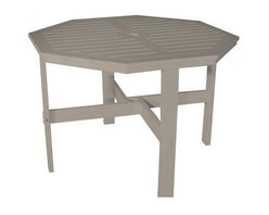 Poly Concepts Outdoor 42 in. Octagon Dining Table with Umbrella Hole - Give your backyard or patio a comfortable, decorative flair with the Poly Concepts Outdoor 42 in. Octagon Dining Table with Umbrella Hole. The durable, titanium resin construction ensures lasting beauty. Mortise and tenon joints are locked into place with a steel pin, providing long-lasting strength. The ten-board top allows rain to drain immediately through, while the UV-, mildew-, and stain-resistant titanium resin means substantial heft and years of enjoyment. Ideal for barbecues and family dinners, this table is the perfect gathering place for friends and family. An included umbrella hole lets you provide shade when needed, although titanium resin does not get dangerously hot in direct sun. Rust-free stainless steel hardware endures the elements. Available in your choice of colors. Some assembly is required.About Poly ConceptsPoly Concepts, LLC aims to unite comfort, style, and durability in environmentally-friendly ways that feature quality and virtually no maintenance. The diverse collection features an outstanding line of premium quality outdoor furniture used across many applications. Healthcare, hospitality, residential, and recreational industries enjoy the performance and satisfaction these pieces provide. Manufactured from Andure, these pieces won't experience the same weathering problems as other outdoor pieces. The titanium alloy/resin has substantial weight and won't peel, chip, fade, crack, yellow or require painting, for a lifetime of worry-free maintenance.