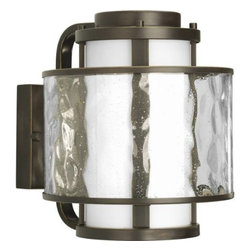 """Progress Lighting - Progress Lighting P5849-20 Bay Court 8-3/4"""" 1 Light Outdoor Wall Lantern in Anti - A dual shade outdoor wall lantern features an etched opal glass inner shade and a clear seedy glass outer shade.ADA Compliant: No Bulb Included: No Bulb Type: Incandescent Collection: Bay Court DarkSky: No Depth: 10-3 8 Finish: Antique Bronze Glass: Etched Opal clear seedy Height: 10-1 4 Height to Center: 5-1 2 Light Direction: Ambient Lighting LowVoltage: No Motion Sensor: No Number of Lights: 1 Photocell: No Shade: Etched Opal Clear Seedy Shade Material: Glass Shade Shape: Cylinder Socket 1 Base: Medium Socket 1 Max Wattage: 100 Socket base: Medium Solar: No Style: Transitional Suggested Room Fit: Outdoor Title 22: No Title 24: No Wattage: 100 Weight: 12 Width: 8-3 4"""