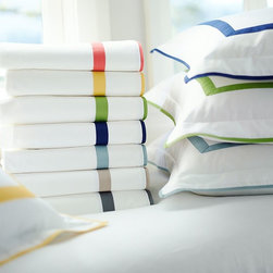 MORGAN 400-THREAD-COUNT SHEET SET - Our 400-thread-count Morgan sheet set has an exceptionally crisp, smooth hand. A thick band of piping lets it coordinate perfectly with our Morgan Duvet Cover.