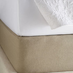 """Pine Cone Hill - Pine Cone Hill King Twill Box Spring Cover, 81"""" x 83"""" with 15"""" pocket - Woven of durable cotton twill in a go-with-anything oatmeal color. From Pine Cone Hill®. Machine wash. Queen box spring cover, 62"""" x 83"""". King box spring cover, 81"""" x 83"""". 15"""" pocket, with deck overlap. Imported."""