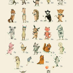 Alphabet Poster, Plenty of Animals from A to Z by Holli - Created by Argentinian artist Paola Zakimi, this alphabet print features adorable baby animals. I love how these fun animals will be able to teach any child to learn the ABCs.