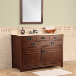 "Cornell 48"" Vanity - The Cornell mission style vanity collection is available in 30"", 36"" and 48"" sizes. A style matched rectangular mirror is also available to compliment the Cornell vanities. Each Cornell vanity comes in a luxurious cherry finish with burnished rubbed black exterior hardware"