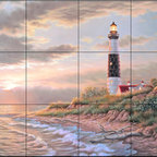 The Tile Mural Store (USA) - Tile Mural - Evening Tide Big Sable  - Kitchen Backsplash Ideas - This beautiful artwork by Judy Gibson has been digitally reproduced for tiles and depicts a lighhouse scene.  Our lighthouse tile murals and nautical themed decorative tiles are perfect as part of your kitchen backsplash tile project or your tub and shower surround bathroom tile project. Lighthouse images on tiles add a unique element to your tiling project and are a great kitchen backsplash idea. Use a lighthouse scene tile mural for a wall tile project in any room in your home where you want to add interest to a plain field of wall tile.