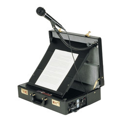 """Oklahoma Sound - Oklahoma Sound Paincase Attache Sound Lectern In Black - handsome black briefcase. Includes 2 practical mic systems: Tie/Lapel-Clip style mic and a gooseneck mic holder with hand-held mic. Use as a lectern with 14"""" x 15"""" fold-out reading table; folds away neatly allowing ample storage for your presentation materials. Removable shoulder-strap lets you sling brief-case over your shoulder for hands-free operation. Standard with AC power adapter; or use with batteries for complete mobility."""