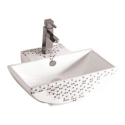 Whitehaus - Whitehaus Whkn4047-03 22 Isabella Bathroom Sink - Isabella decorative rectangular wall mount basin with overflow, single faucet hole and center drain