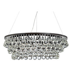 Lightupmyhome - 32-Inch Round Dark Antique Bronze Glass Drop Crystal Chandelier - Hundreds of large clear glass drop crystals surround this beautiful chandelier.   With 10 lights and a round frame this chandelier is sure to light up your home.