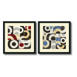 Amanti Art - Sandro Nava 'Addendum- set of 2' Framed Art Print 25 x 25-inch Each - Bring a little simple chic into your decor! This contemporary abstract framed art set of Addendum offers a staccato poetry of circular shape and tone.