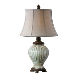 Uttermost - Dernice Aged Ceramic Table Lamp - If you want your lamp to reflect your taste, not your budget, here is a reason to cheer. This heavily crackled, aged ivory table lamp has rust distressing and chocolate bronze accents. The sophisticated round bell shade is linen with light slubbing. Only you will know that good taste is its own reward.