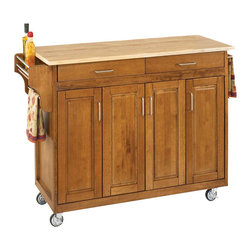 Home Styles - Home Styles Create-a-Cart 49 Inch Wood Top Kitchen Cart in Cottage Oak - Home Styles - Kitchen Carts - 92001061 - Home Styles Create-a-Cart Kitchen Cart in a Cottage Oak finish with a wood top features solid wood construction, four cabinet doors that open to storage with three adjustable shelves inside, handy spice rack with towel bar, paper towel holder, and heavy duty locking rubber casters for easy mobility and safety.