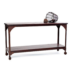 Metal and Wood Console Table - This table has simple lines in reclaimed, distressed wood and rusted metal (protected with a finish so it wont bleed), make this an attractive island or console. Just used one of these for extra open storage in a client's kitchen with a bar pot rack hung overhead. Doubles as an extra bar during parties.