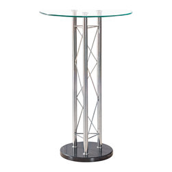 Global Furniture - Global Furniture USA M208BT Round Clear Glass Top Bar Table - Enhance the trendy contemporary look of your casual dining area with this chrome metal circular bar table. Perfect for any space, this piece features straight tube legs with detail, glass top and black finish on the base.