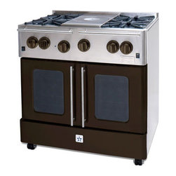 """BlueStar Range 36"""" RNB364FTMS Precious Metals Collection French Top - Bluestar Range RNB364FTMS Precious Metals Collection 36"""" Pro-Style Freestanding Gas Range with 88,000 Total Burner BTUs, 12"""" French Top, Convection Cooking, Extra Large Oven Capacity and Continuous Grates."""