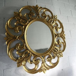 Luxury Gold Leaf Extra Large Round Mirror, Solid Mahogany - A high-end mirror like this one in gold can be used in so many spaces. I love the gold-painted mahogany.