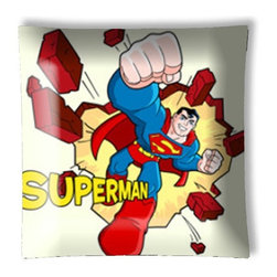 """Superman Pow!! Retro Ceiling Light - 12"""" square semi flushmount ceiling lamp with designer finish. Includes complete installation instructions and complete light fixture. Wipes clean with a damp cloth. Uses 2-60 watt bulbs (not included) and is made with eco-friendly/non-toxic products. This is not a licensed product, but is made with fully licensed products."""