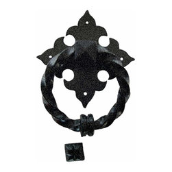 Renovators Supply - Door Knockers Black Cast Iron Door Knocker RSF 7 H x 5 1/2 W | 15669 - Door Knocker. Once a sign of their homeowner?s profession- doorknockers now come in a variety of designs & finishes for everyone?s style. Step-up your curb appeal & add value to your home with finishing touches like a knocker. Made of 100% black cast iron with our Exclusive rust-resistant RSF powder coat finish make this knocker a knock out! Easy installation- thread bolts through the door for secure mounting. Mounting hardware included. Measures 7 in. H x 5 1/2 in. W.