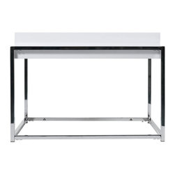 Euro Style - Greta High Gloss White Lacquer End Table w Ch - High gloss White Lacquered table top, Chrome base. Made of Lacquered MDF/Chrome. Warranty: 1 year. Tools for Assembly Included. Some Assembly Required. Assembly Instructions. 24 in. W x 24 in. D x 18 in. H (29 lbs.)