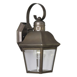 Progress Lighting - Progress Lighting P5687-20 Andover 1 Light Outdoor Wall Lights in Antique Bronze - The Andover collection one-light small wall lantern with solid brass construction, offers a mixture of traditional and country style for a variety of applications. Beveled glass panels allow optimum brightness. Hinged door for easy relamping.
