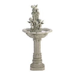 KOOLEKOO - Outdoor Playful Cherubs Water Fountain - Water cascades over playful cherubim in this enchanting home or garden fountain. Classically styled with flowing lines and faux granite finish. Fiberglass.
